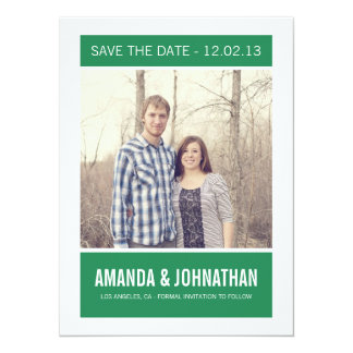 Green Photo Save The Date Announcements