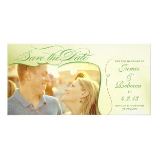 Green Photo Save the Date Wedding Announcement