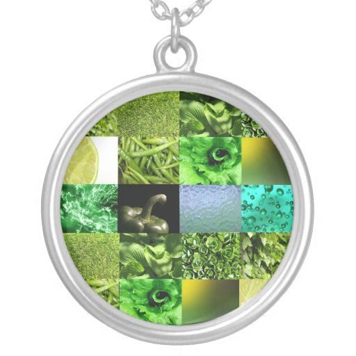 Green Photography Collage Custom Necklace