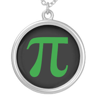 Green Pi on Black Round Pendant Necklace