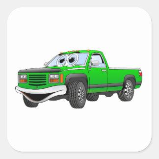 Green Pick Up Truck Cartoon Square Sticker
