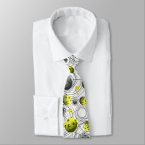 Green Pickleballs with Abstract background Neck Tie