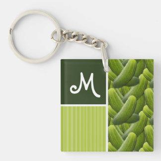 Green Pickles; Pickle Pattern Keychain