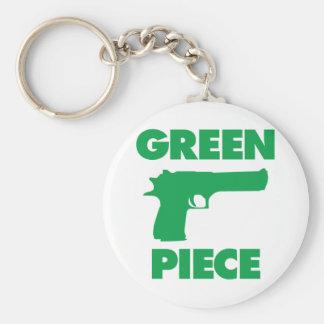 Green Piece Basic Round Button Keychain