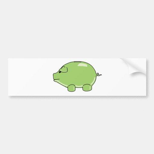 Green Pig Bumper Sticker Car Bumper Sticker