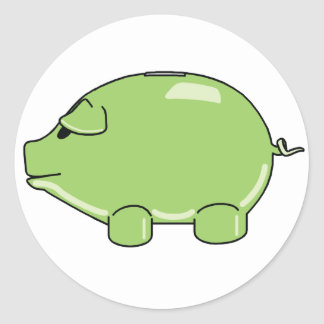 Green Pig Classic Round Sticker