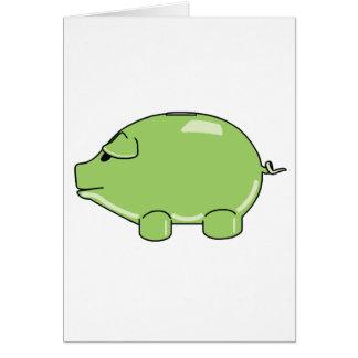 Green Pig Greeting Card Tarjeta De Felicitación