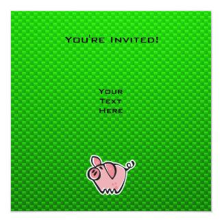 Green Pig 5.25x5.25 Square Paper Invitation Card