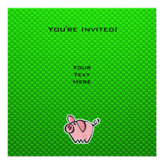 Green Pig Personalized Invites