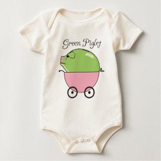 Green Piglet (Pink Baby Bodysuit