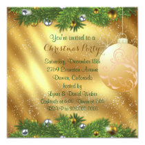 Green Pine Bough Gold Christmas Party Invitation