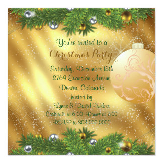 Green Pine Bough Gold Christmas Party Custom Announcement Card