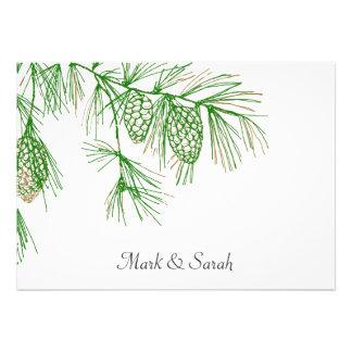 Green Pine Boughs  Wedding Invitation