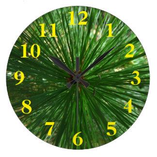 Green Pine Needle Spiral Wallclocks
