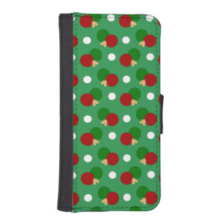 Green ping pong pattern phone wallet case
