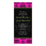 "Green Pink and Black Damask Slim Wedding Invite 4"" X 9.25"" Invitation Card"