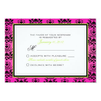 Green Pink and Black Damask Wedding RSVP Custom Card