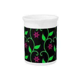 Green Pink and Black flower vine design Drink Pitcher