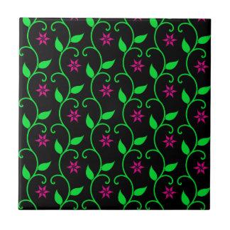 Green Pink and Black flower vine design Small Square Tile