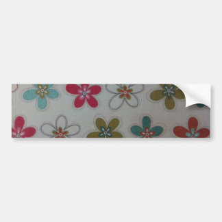 Green pink and blue floral pattern car bumper sticker