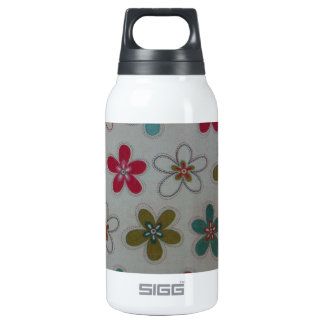 Green pink and blue floral pattern insulated water bottle