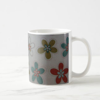 Green pink and blue floral pattern mugs