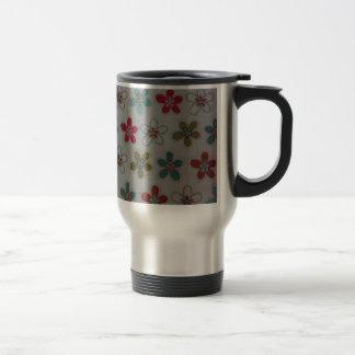 Green pink and blue floral pattern travel mug