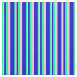 [ Thumbnail: Green, Pink, and Blue Stripes Pattern Fabric ]