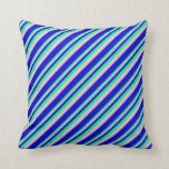 [ Thumbnail: Green, Pink, and Blue Stripes Pattern Throw Pillow ]