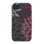 Green Pink and Brown Modern Flowers Case-Mate iPhone 4 Covers