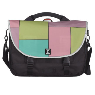 Green Pink and Purple Color Block Bag For Laptop