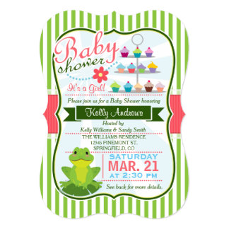 Green, Pink, and White Frog Theme Baby Shower 5x7 Paper Invitation Card