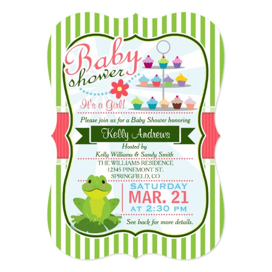 Green Pink And White Frog Theme Baby Shower Invitation Zazzle Com