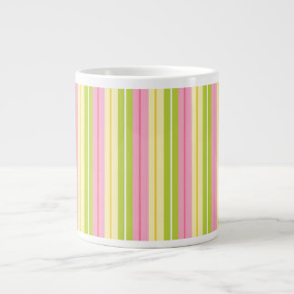 Green, Pink, and Yellow Retro Stripes 20 Oz Large Ceramic Coffee Mug