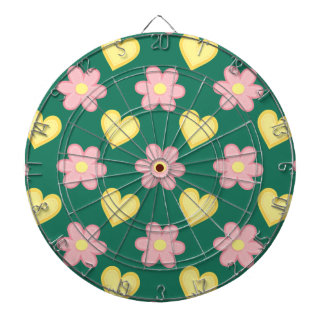 Green, Pink, and Yellow Stitched Hearts & Flowers Dart Boards
