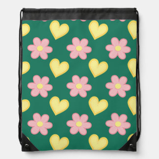 Green, Pink, and Yellow Stitched Hearts & Flowers Drawstring Bag