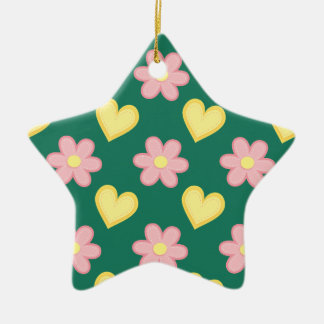 Green, Pink, and Yellow Stitched Hearts & Flowers Double-Sided Star Ceramic Christmas Ornament