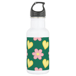 Green, Pink, and Yellow Stitched Hearts & Flowers Stainless Steel Water Bottle