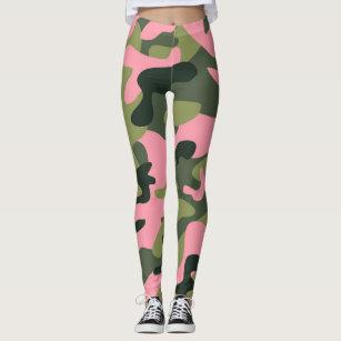 e90edbca11b8e Green & Pink Army Camo Camouflage Leggings