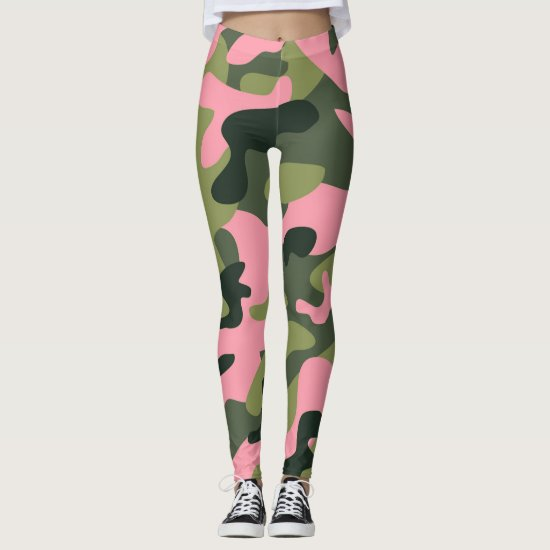 Green & Pink Army Camo Camouflage Leggings