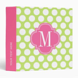 Green & Pink Big Polka Dots Monogrammed 3 Ring Binder
