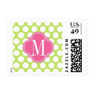 Green & Pink Big Polka Dots Monogrammed Postage Stamp