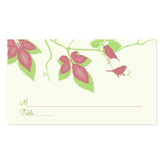 Green Pink Birds Vines Special Occasion Place Card Business Card
