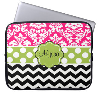 Green Pink Black Dot Damask Chevron Personalized Computer Sleeve