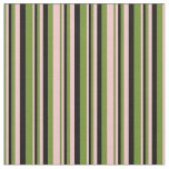 [ Thumbnail: Green, Pink & Black Lined/Striped Pattern Fabric ]