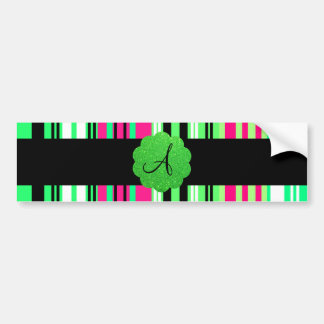 Green pink black striped monogram car bumper sticker