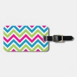 Green pink blue chevrons stripes pattern tag for bags
