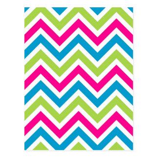 Green pink blue chevrons stripes pattern postcard