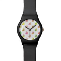 Green Pink Blue Watercolor Bunny Background Wristwatch