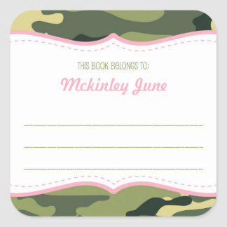 Green & Pink Camouflage bookplate book plate